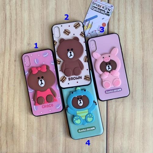 Ốp lưng iphone x - xs hình gấu brown dẻo nổi 3d