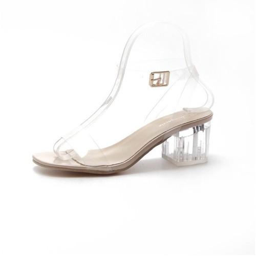 Giày sandal quai trong gót pha lê 5p