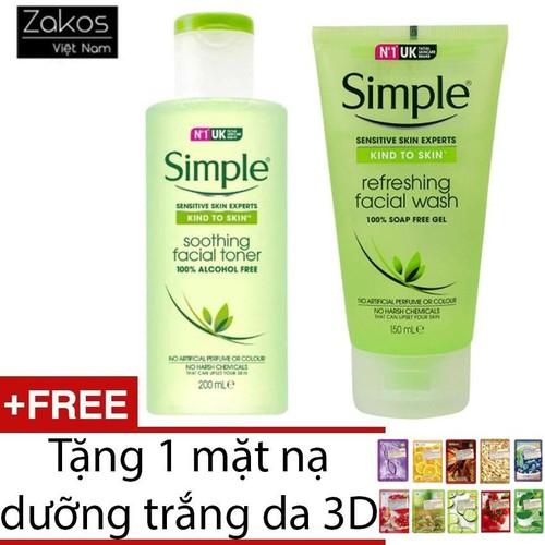 Bộ combo sữa rửa mặt dạng gel simple kind to skin refreshing và nước hoa hồng toner simple kind to skin soothing facial + tặng 1 mặt nạ dưỡng da 3d  - mùi ngẫu nhiên - 17321538 , 19840911 , 15_19840911 , 389000 , Bo-combo-sua-rua-mat-dang-gel-simple-kind-to-skin-refreshing-va-nuoc-hoa-hong-toner-simple-kind-to-skin-soothing-facial-tang-1-mat-na-duong-da-3d-mui-ngau-nhien-15_19840911 , sendo.vn , Bộ combo sữa rửa mặ