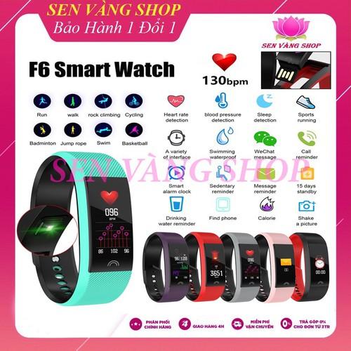 [Bảo hàng 6 tháng] vòng tay thông minh, đồng hồ thông minh f6 chống nước ip68 thế hệ mới - có video hướng dẫn
