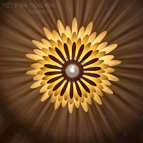 Đèn chưa lắp ráp gỗ treo tường, hoa cúc + tặng kèm bóng đèn