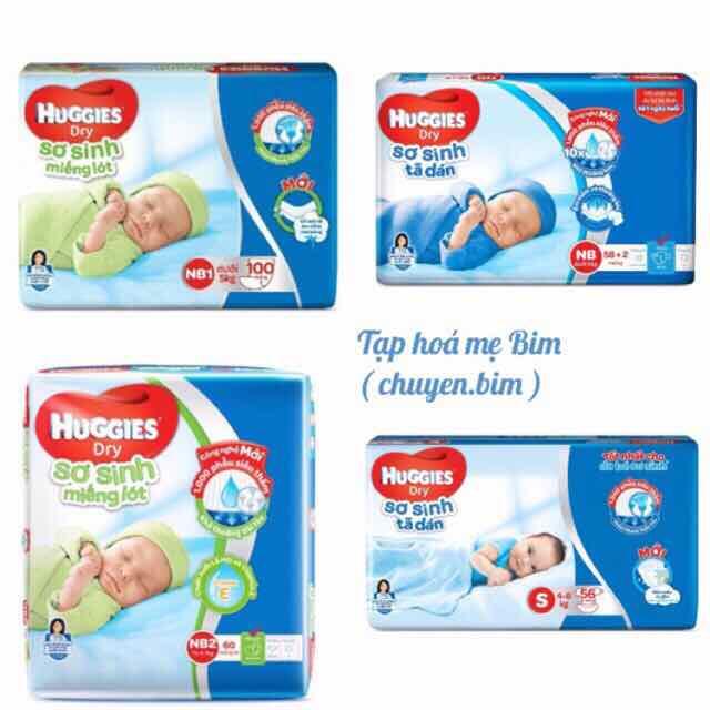 Bỉm dán Huggies và miếng lót Nb58 cong 2- Nb1-100- Nb2-60- S56