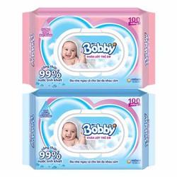 Khăn giấy ướt Bobby có mùi và không mùi 100 tờ