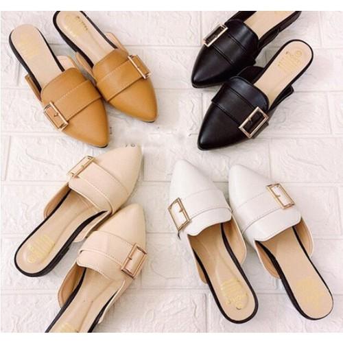 Giày sục da nữ móc vuông