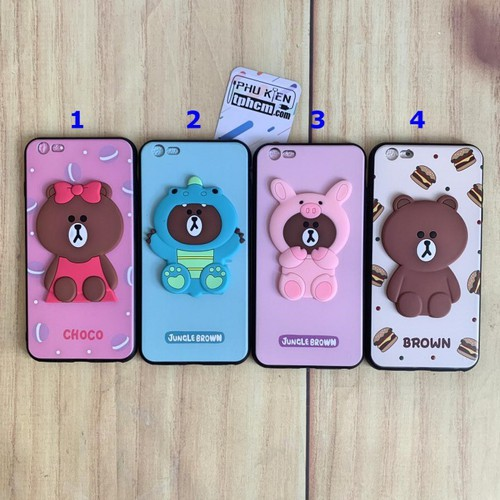 Ốp lưng iphone 6 plus - 6s plus hình gấu brown dẻo nổi 3d