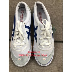 Giày Bata vải trắng sọc xanh- Hình thật, hàng sẵn