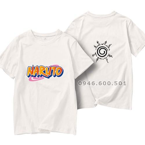 Áo thun ngắn tay cổ tròn in biểu tượng naruto
