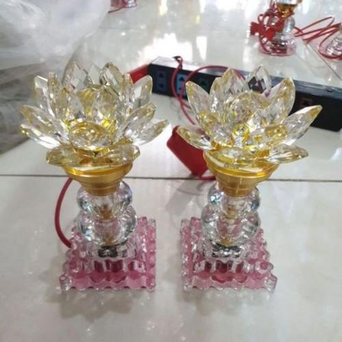 Cặp đèn thờ pha lê 7 màu cao cấp 2 bóng cao cấp cao 17cm