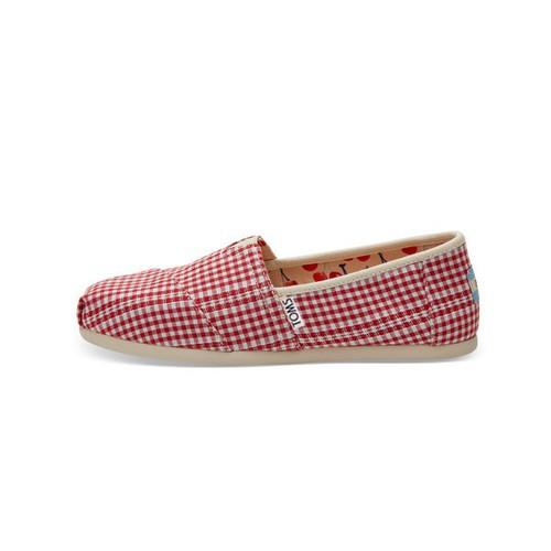 Giày lười vải caro đỏ