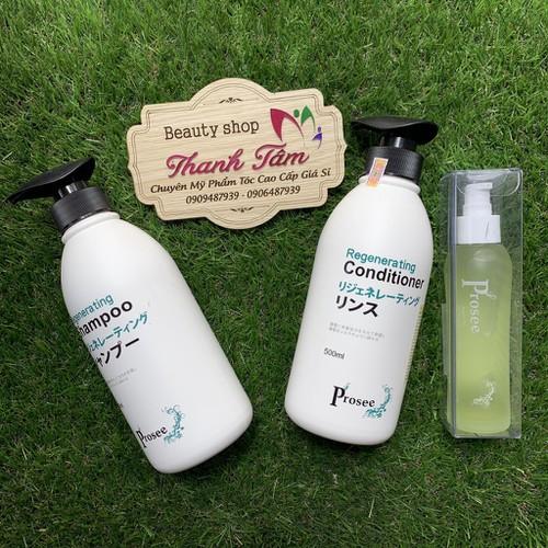 Combo gội xả phục hồi regenerating và tinh dầu dưỡng tóc prosee 500mlx2 80ml
