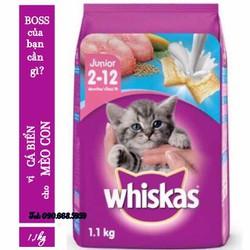 Thức ăn hạt cho mèo con Whiskas junior 1,1kg