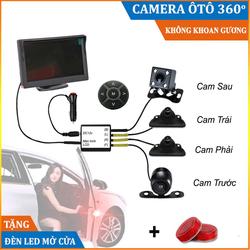 Camera 360 ô tô Siêu Nét 4 Cam trái, phải, trước, sau, Camera cạp lề, Camera 360 xe hơi, Camera 360 cho xe ô tô, Cam lề không phải khoan gương BH 12 tháng - Labaha