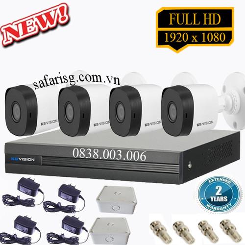 Trọn bộ đầu ghi + 4 camera thân full hd kbvision