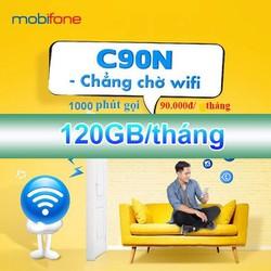 CÓ SẴN THÁNG ĐẦU. Bán Sim 4G Mobifone C90N 90Ktháng CÓ NGAY 120Gb + 1000 phút nội mạng + 50 phút ngoại mạng