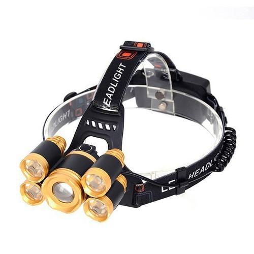 Đèn pin đội đầu siêu sáng 5 bóng led có video test - phù hợp đi phượt - đi săn bắt