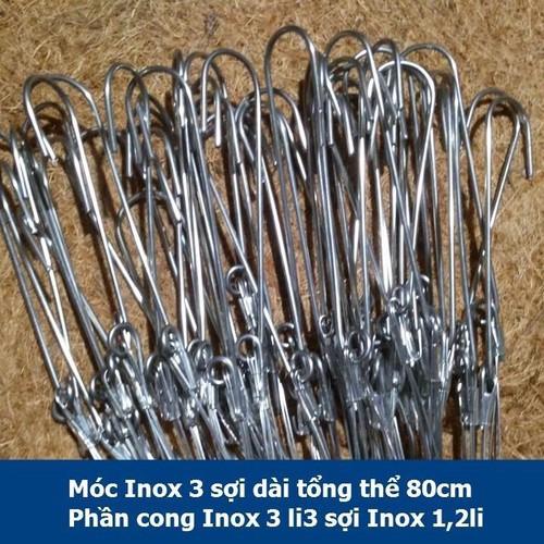 5 móc inox 304 dài 80cm phần cong 3 li phần 3 dây xuống 1li5 giá 5k