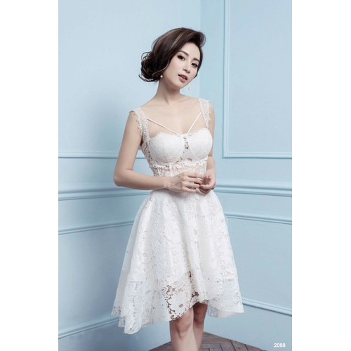 Đầm hai dây ren trắng sexy