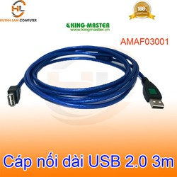 Cáp nối dài 3m USB 2.0 KingMaster AMAF03001 - Hãng phân phối
