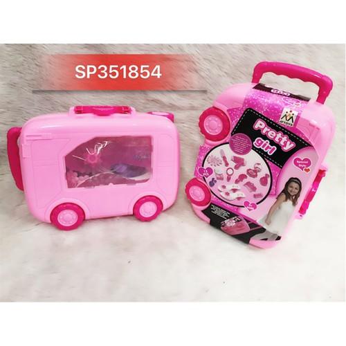 Hộp vali kéo trang điểm 13m hồng , jf8202-1