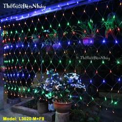 Đèn Nháy Lưới ngang 3 m – cao 2m - Nhiều Màu - Chớp nháy 8 chế độ - Thế Giới Đèn Nháy