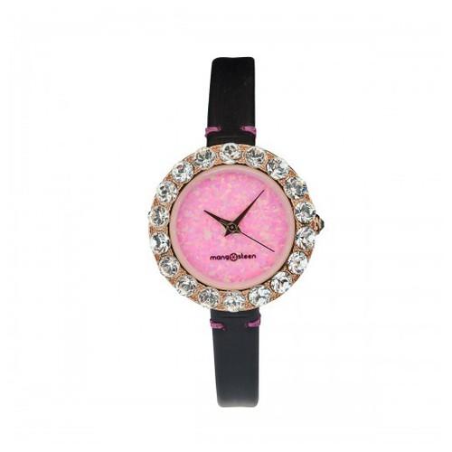 Đồng hồ nữ ms512d mangosteen seoul hàn quốc dây da hồng đậm