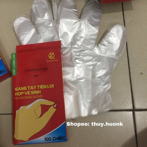 2hộp găng tay nilon sử dụng1lần