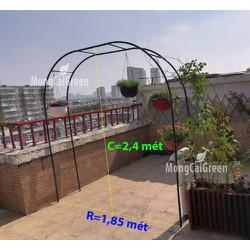 Khung cổng vòm 16mm màu xanh cho hoa leo - sắt 16mm 2,4 x 1,85 mét