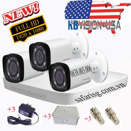 Trọn bộ đầu ghi + 3 camera thân full hd kbvision