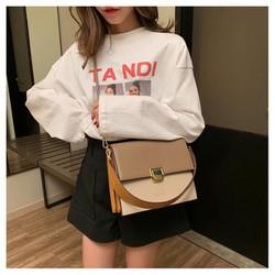 Túi xách tay đeo chéo nữ thời trang công sở phối 2 màu T66 KT 24x21x10 cm dây đeo chéo da phụ kiện thời trang