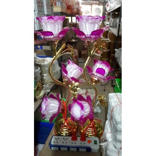 Đèn thờ hoa thủy tinh pha lê cao cấp 55cm