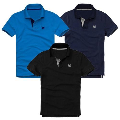Áo thun nam cá sấu mẫu mới -combo 3 áo, xanh dương, xanh đen, đen