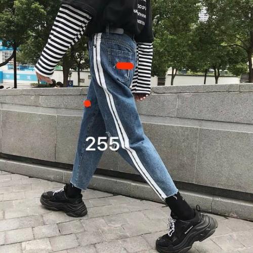 Quần baggy jeans nữ kẻ sọc