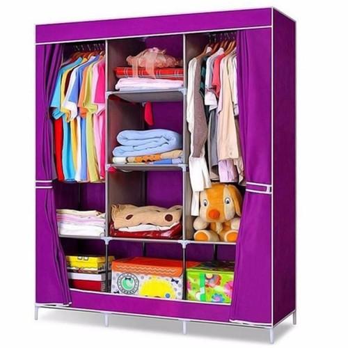 Tủ vải đựng quần áo 3 buồng 8 ngăn khung inox size to - ngẫu nhiên màu