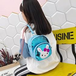 Balo trẻ em hình thỏ thiết kế sequin lung linh cho bé 3-5 tuổi - Họa tiết hình thỏ xinh xắn, đáng yêu
