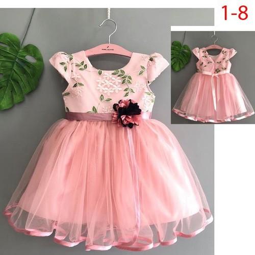 Đầm dạ hội thêu phi voan đính hoa eo 2-6 tuổi