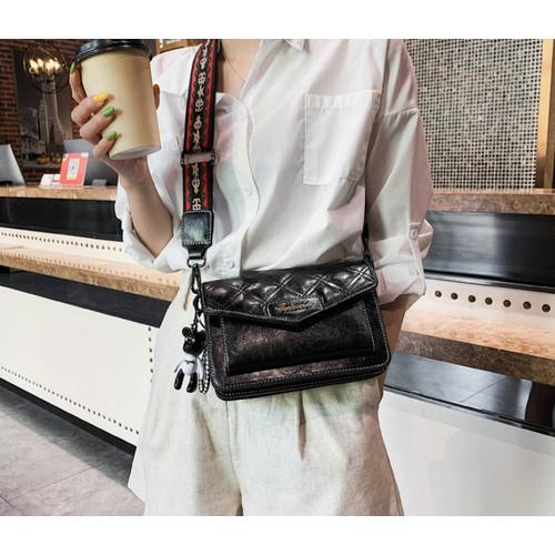 Túi xách nữ dáng hộp dây vải bản to phối phụ kiện