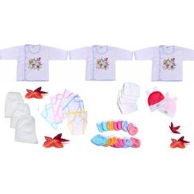 Quần áo cho bé sơ sinhSet 28 món đồ cho trẻ sơ sinh từ 0 đến 6 tháng tuổi 3 áo tay dài + 3 quần dài + 5 tã dán + 5 khăn sữa + 5 đôi bao tay + 5 đôi bao chân + 2 nón thỏ - 28 mon tay dai