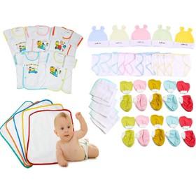 Quần áo cho bé- Combo 50 món cho trẻ sơ sinh 0-6th 5 áo tay dài, 10 tã, 5 nón , 10 bao tay, 10 bao chân , 5 lót, 5 khăn - 50 mon tay dai trang