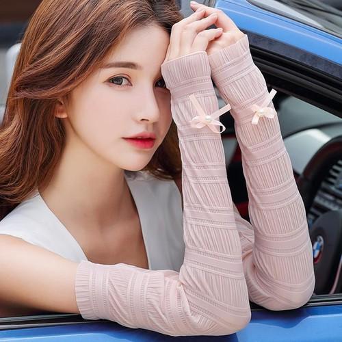 Đôi găng tay chống nắng phối nơ xinh xắn dành cho nữ