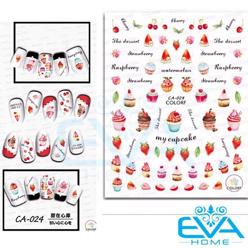 Miếng dán móng tay 3d nail sticker tráng trí hoạ tiết bánh kem và trái cây ca024