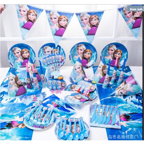 Set trang trí sinh nhật cho bé chủ đề công chúa elsa 16 món đầy đủ, phụ kiện sinh nhật cho bé