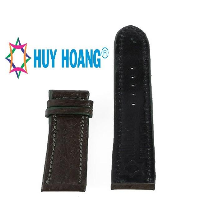 Dây đồng hồ nam nữ Huy Hoàng da đà điểu da bụng size nhỏ màu xanh rêu