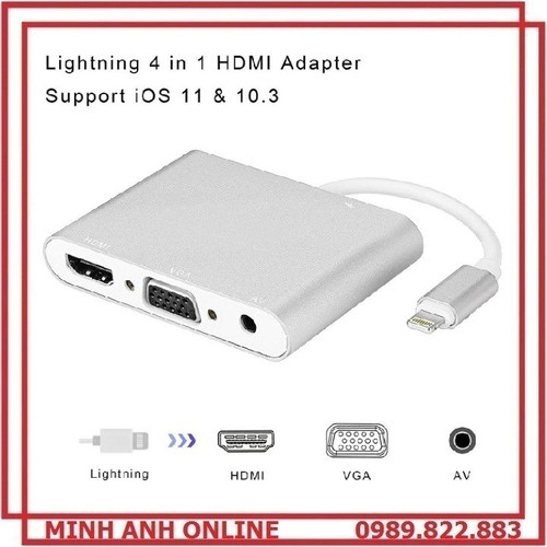 Cáp chuyển đổi lightning to digital av multiport hdmi vga audio