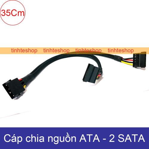 Cáp chuyển nguồn molex ata ide sang 2 sata - đổi từ nguồn máy tính ra 2 sata cấp nguồn cho ssd hdd dvd-r diy 35cm