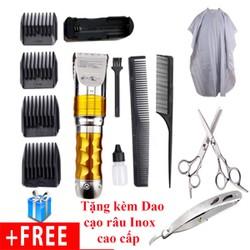 Combo Tông Đơ Cắt Tóc HuaErBo F10 + 2 lược + 1 bộ kéo + áo choàng cắt tóc + dao cạo Inox đa năng