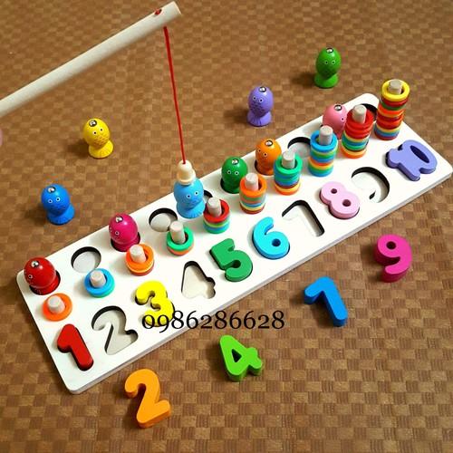 Đồ chơi toán bậc thang câu cá nam châm - đồ chơi gỗ
