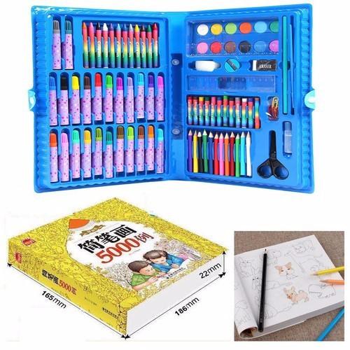 Hộp màu 86 món và vở tập tô 5000 hình cho bé yêu thỏa sức sáng tạo