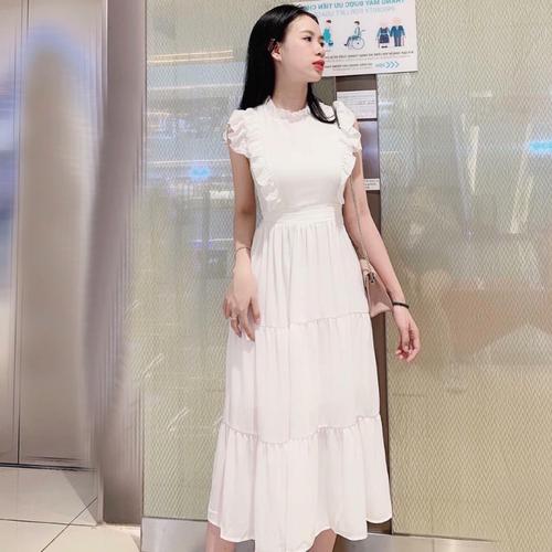 Đầm suông trắng tay nhí dưới 57kg xmm09