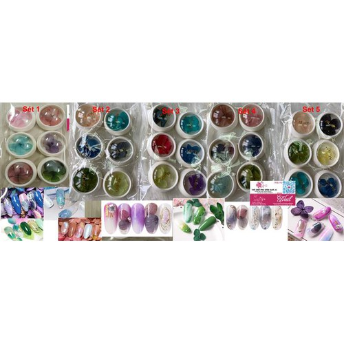 Hoa Lụa Omber Trang Trí Móng Theo Phong Cách Nhật, Ẩn Móng Gel, Bột - Lẻ 1 Sét