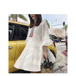 [SIÊU SALE] Đầm suông trắng Vải voan Thiết kế 2 lớp, voan đũi + lót 40-65kg